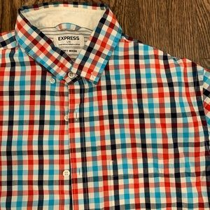 Men's Red White & Blue button down shirt